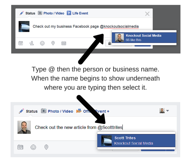 How to tag a friend or a business in a Facebook update. Write the @ symbol before the person of business name.