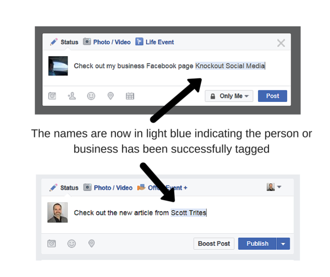 How to tag a friend or a business in a Facebook update. When name is in light blue they have been tagged successfully.