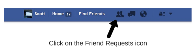 How to view or cancel a Friend Request on Facebook. Step 1 Click on Friend Requests icon.