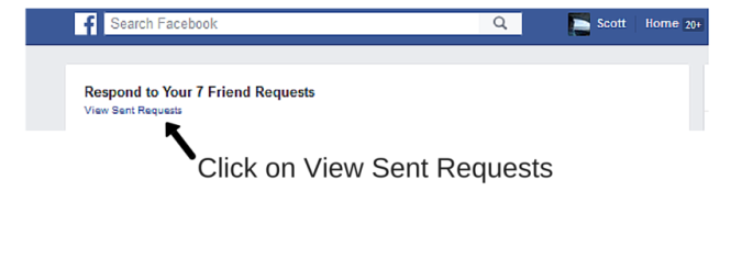 How to view or cancel a Friends Request on Facebook step 3 Click on View Sent Requests