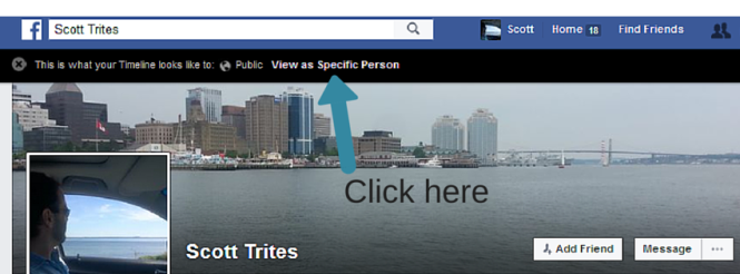 How to use the View As feature in Facebook. Step 2 click on View as Specific Person