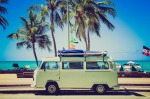 white VW camper near palm trees and the beach