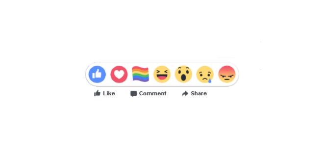 Facebook reactions including the rainbow Pride reaction