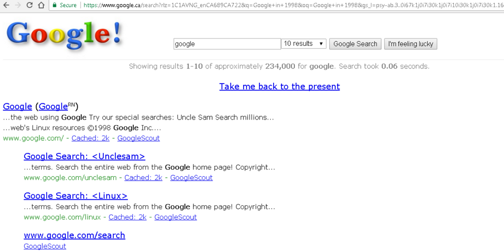 Screenshot of Google in 1998