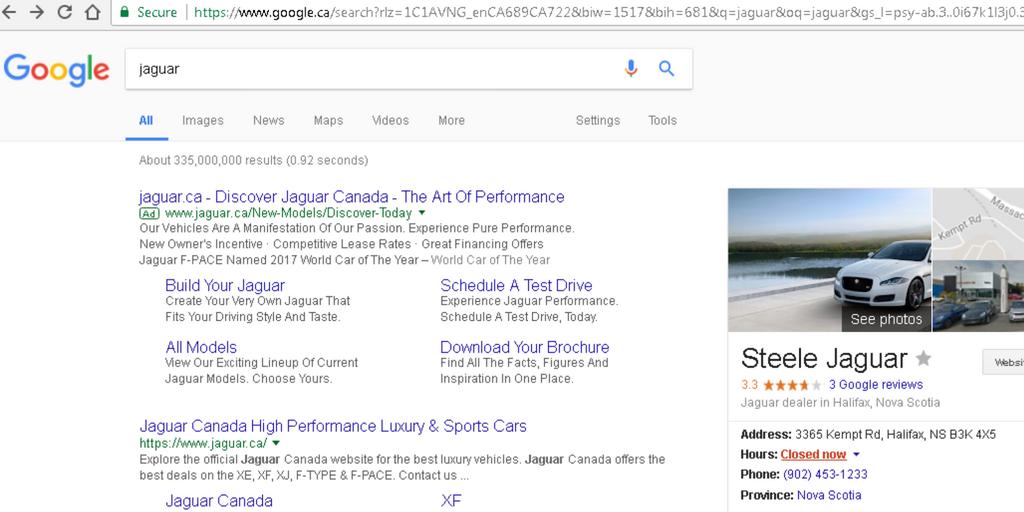 Screenshot of Google search for Jaguar