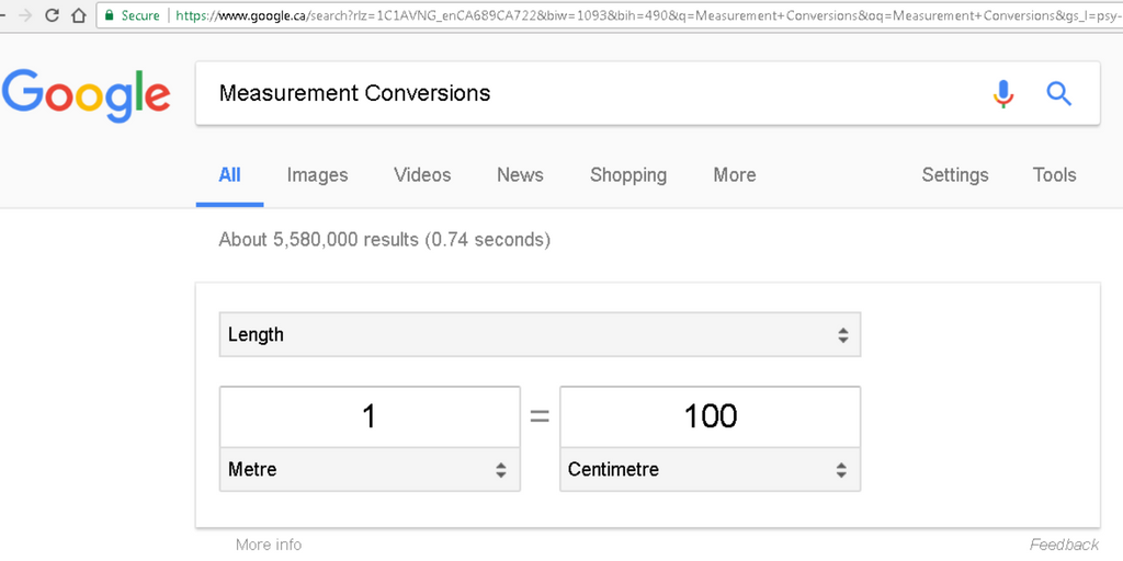 Screenshot of Google Measurement Conversion feature