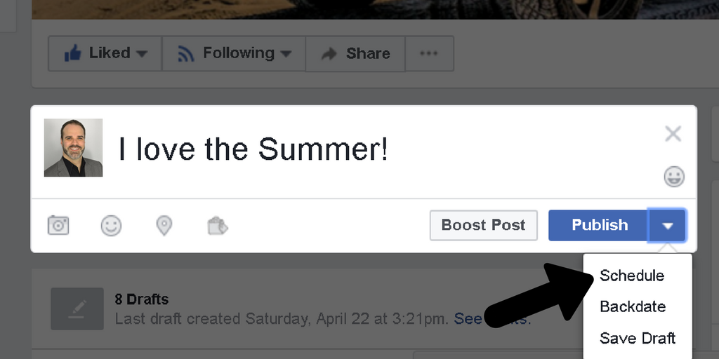 A screenshot of scheduling a post on Facebook