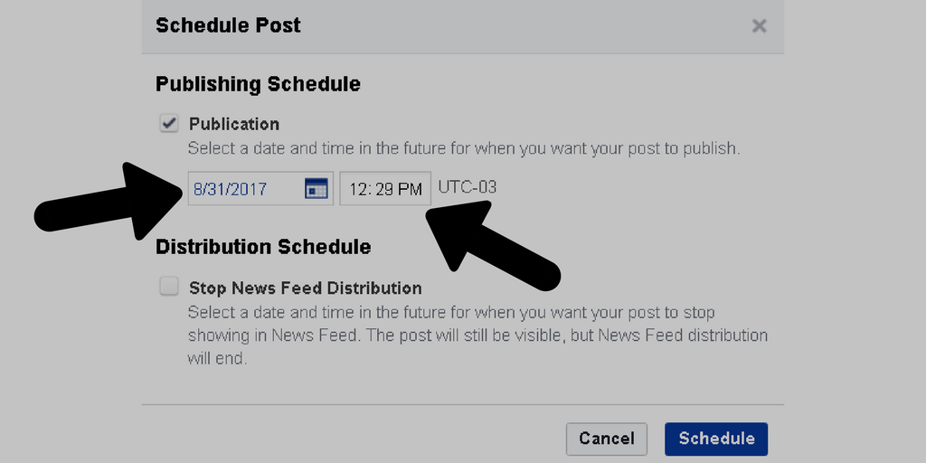 Screenshot of scheduling Facebook post