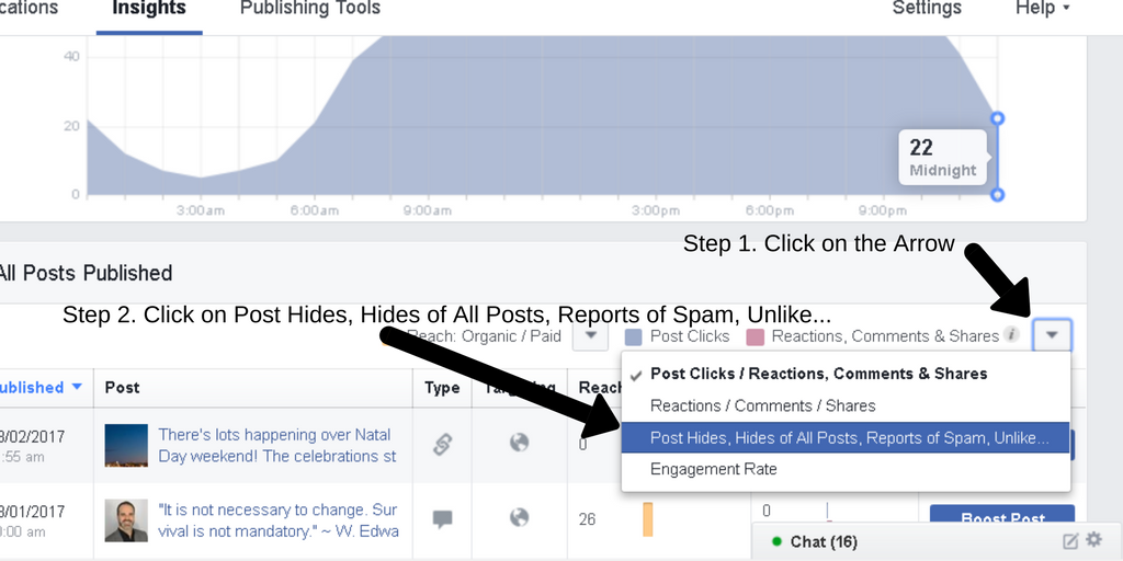 Screenshot of steps to get to the Negative Feedback section of a Facebook page