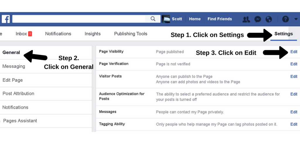 Screenshot of the Facebook Settings page