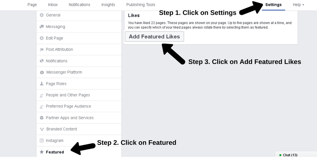 Screenshot of the Settings page of Facebook