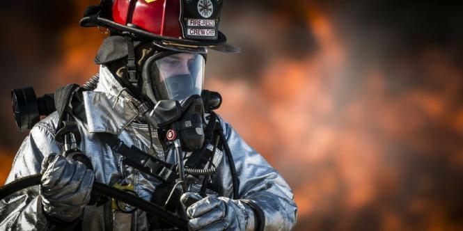 Firefighter wearing mask